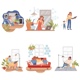 People staying and working at home during coronavirus covid-19 outbreak   illustration.