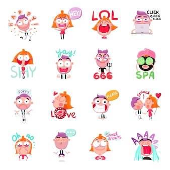 People stickers set