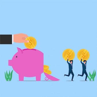 人々は強盗の貯金箱の隠喩からコインを盗みました。ビジネスフラットの概念図。