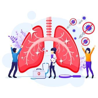 사람들은 인간의 폐 개념 그림에서 covid-19 코로나 바이러스를 중지하고 치료합니다.