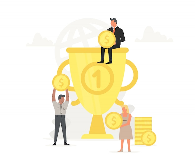 People store and collect money in large trophy.