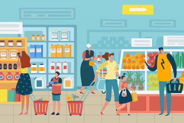 People in store. customer choose food supermarket family cart shopping product assortment grocery store interior concept