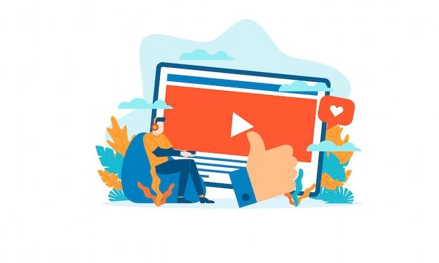 People streamer flat illustration