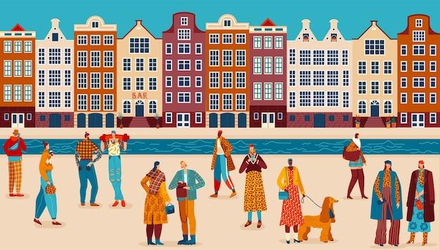 人ストリートスタイルフラットベクトルイラスト。街の通り、立っている友人のカップルの群衆を歩いて漫画成人男性女性トレンディなファッション衣類のキャラクター