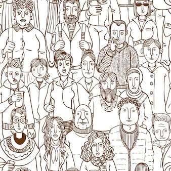 People in the street. vector seamless hand drawn