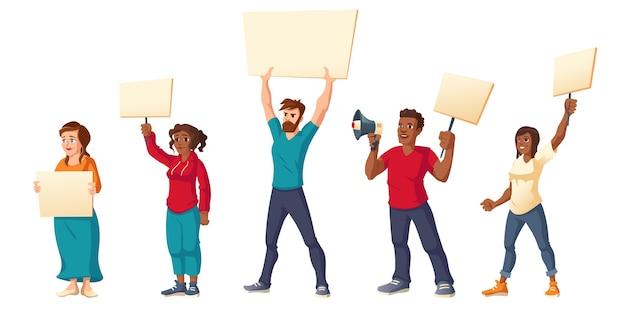 人々はストライキをし、プラカードを持った怒っている男性と女性が集会のデモに抗議します。
