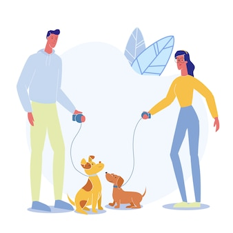 People on stroll with pets vector illustration