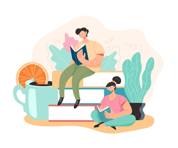 People students reading book and learning concept, cartoon flat illustration
