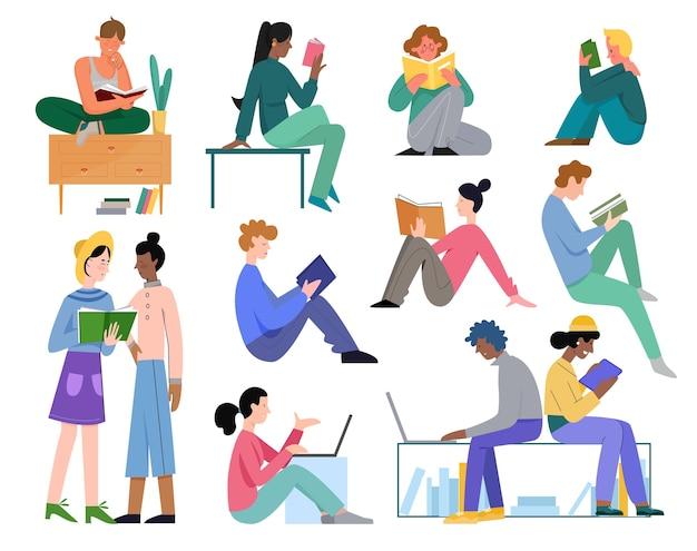 People study vector illustration set.