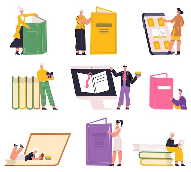 도서관 종이와 전자책을 읽고 공부하고 배우는 사람들. 취미를 읽는 캐릭터, 도서관 책 벡터 일러스트레이션 세트를 읽는 학생들. 책을 사랑하는 사람 교육 및 학습 지식