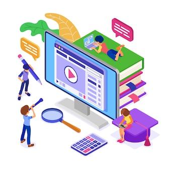 People studying online isometric illustration