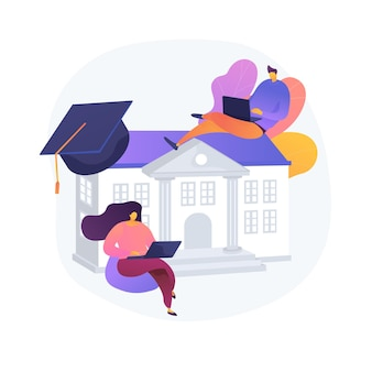 People studying remotely, e learning. home education, distance learning, online college. university students with laptops, internet training courses.