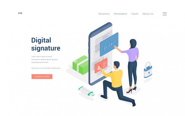 Люди, отправляющие цифровую подпись к онлайн-документу. изометрические мужчина и женщина отправляют цифровую подпись в файл на смартфоне при использовании онлайн-сервиса на баннере веб-сайта