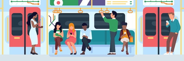 People in subway. men and women characters sit in row, use mobile phones, underground big city transport, traveling standing and sitting persons vector concept