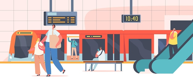 People at subway station, male and female characters at public metro platform with train, escalator, clock and digital display, urban commuter, city transport. cartoon vector illustration