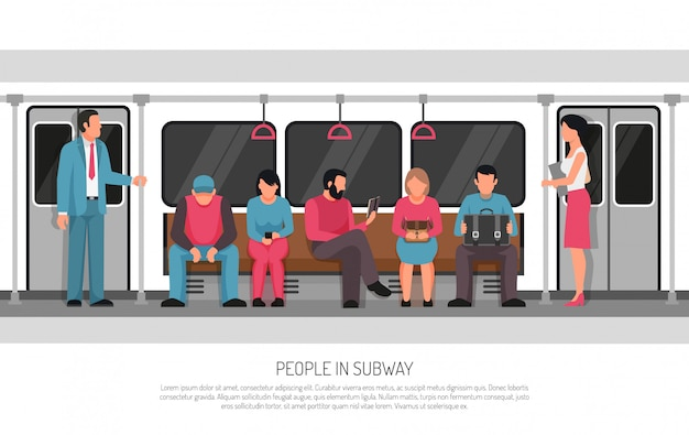 People subway transport poster