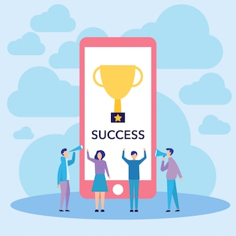 People success and winner vector illustration