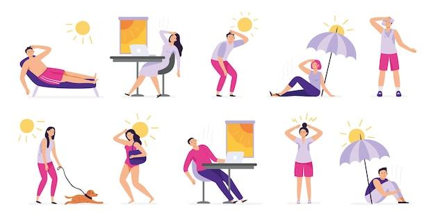 Люди страдают от жары. солнечный удар, летняя жаркая погода и перегрев. потные люди перегреты в наборе иллюстрации солнца.