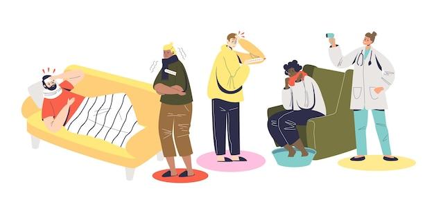 열로 고통받는 사람들. 독감, 감기 또는 바이러스 증상이 있는 만화 캐릭터 세트는 다른 온도계로 체온을 확인합니다. 평면 벡터 일러스트 레이 션