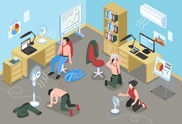 People suffering from hot weather in office with air conditioner and fans illustration