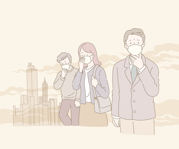 People suffering from smog and air pollution in line style illustration