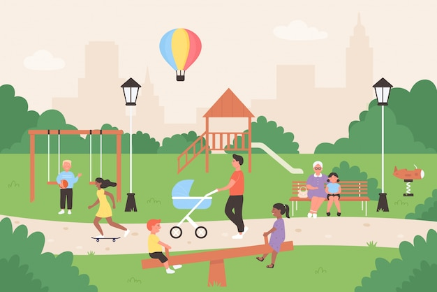 People in summer city park illustration. cartoon flat family and children characters sitting on bench, kids playing games, have fun together.