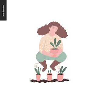 People summer gardening - flat vector concept illustration of a young brown-haired woman wearing yellow blouse, trousers and boots, holding a plant in the pot, self-sufficiency concept