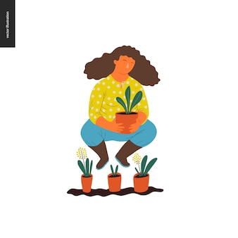 People summer gardening - flat vector concept illustration of a young brown-haired woman