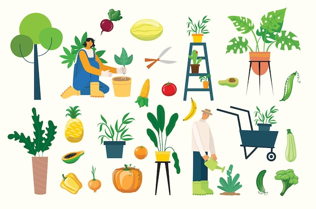 사람들이 여름 정원 가꾸기 - 정원 일을 하는 사람들의 벡터 평평한 손으로 그린 삽화 세트 - 물주기, 심기, 재배 및 이식 콩나물, 자급자족 개념