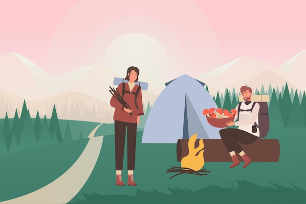 People in summer nature camping, cartoon young tourists sitting by tent and camp fire
