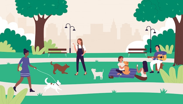 People in summer outdoor city park  illustration. cartoon happy  woman man friends have fun on picnic, active character walking or playing with pet dog, summertime leisure weekend background