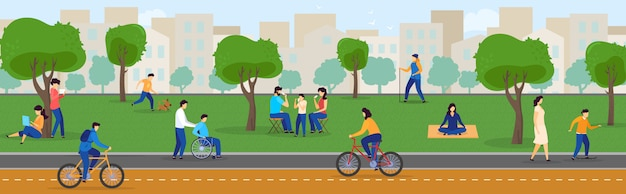 People in summer park enjoying active outdoor leisure, healthy lifestyle in city,  illustration