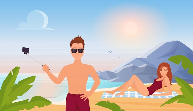 People in summer travel vacation tropical beach landscape man holding selfie stick