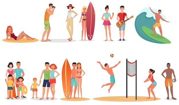 People on summer vacation beach