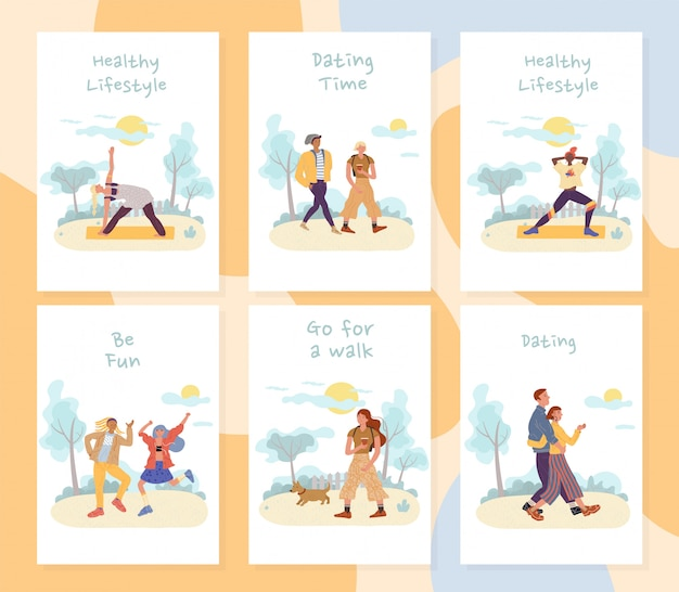 People summer vacation outdoor activities card set
