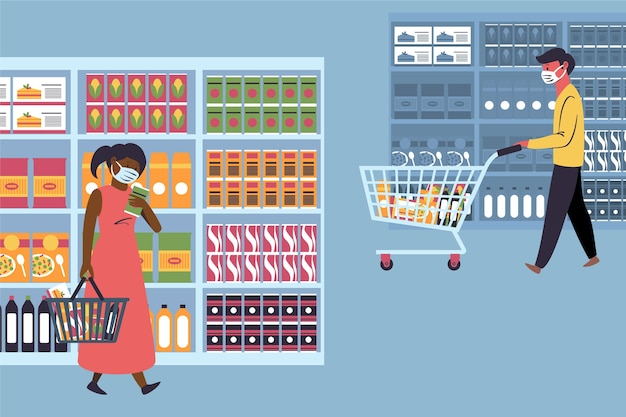 People in supermarket concept
