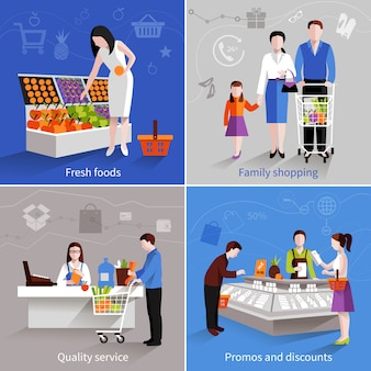 People in supermarket design concept set