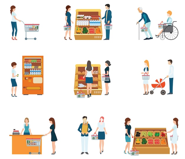 People in supermarket grocery store
