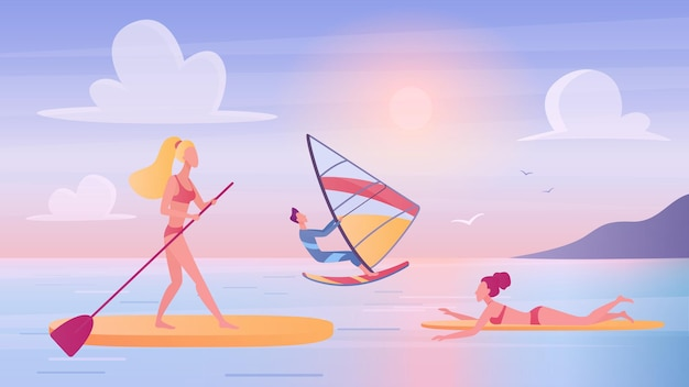 People surf on sea ocean wave man woman surfers surfing swimming floating on surfboards.