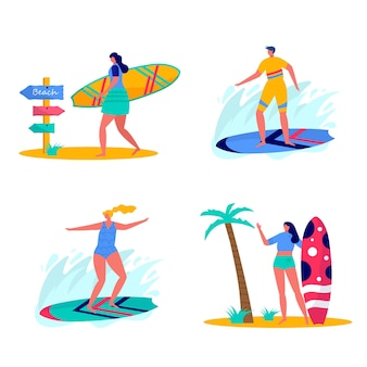 People surfing in beachwear with surfboards. young women amd men enjoying vacation on the sea, ocean. concept of summer sports and leisure outdoor activities isolated on white background . flat vector