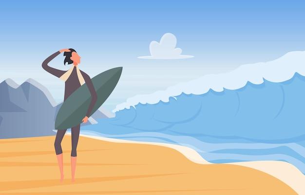 해변에 서 있는 잠수복을 입은 바다 해안 서퍼에서 극단적인 모험을 서핑하는 사람들
