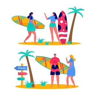 서핑 보드와 함께 비치웨어에서 서핑하는 사람들. 바다, 바다에서 휴가를 즐기는 젊은 여성과 남성. 흰색 배경에 고립 된 여름 스포츠 및 레저 야외 활동의 개념. 평면 벡터