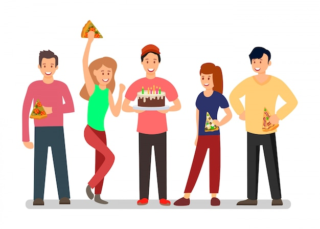 People at surprise b-day party vector illustration