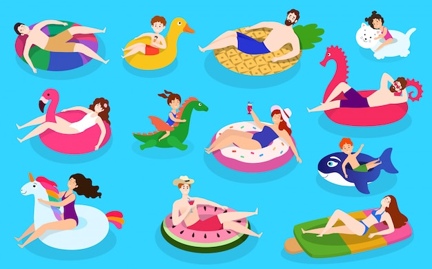 People swim pool colorful rubber rings, illustration with isolated characters with funny rubber swimming rings, flat style.