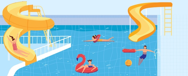 People swim in waterpark pool  illustration.