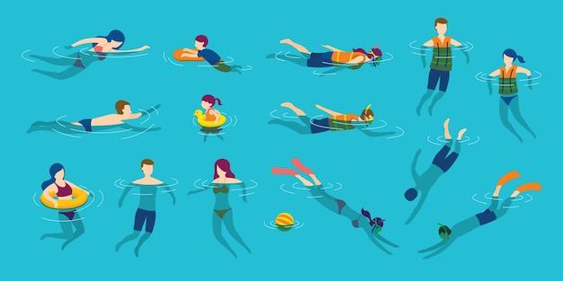 바다 또는 수영장에서 수영 및 다이빙하는 사람들