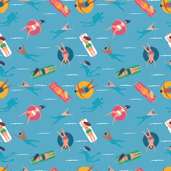 People swimming in sea seamless pattern background