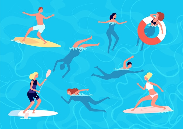泳ぐ人。夏の水泳、休暇中の女性の男性。海や海にいる人々、サーフィンをしたり、水中でリラックスしたり。スイマーのベクトル図。夏休み、休暇の海で泳ぐ、プールでリラックス