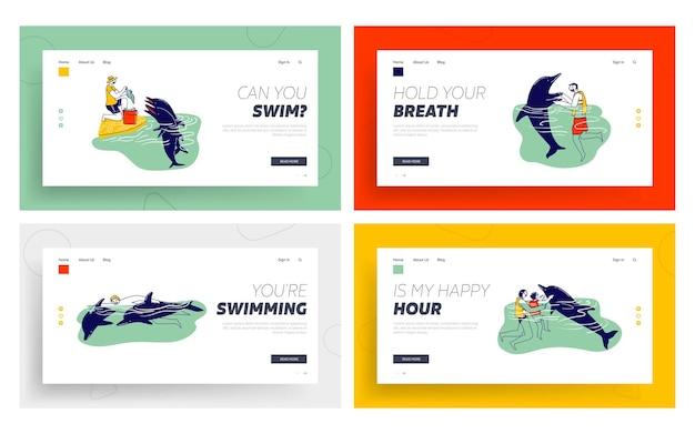 돌고래 방문 페이지 템플릿 세트와 함께 수영하는 사람들.