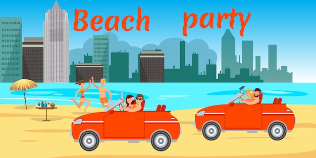 People in swimsuits driving car